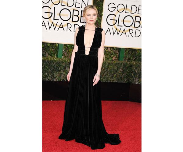 Kirsten Dunst plunging Valentino gown
