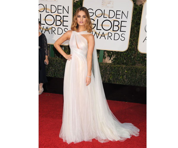 James' flowing Marchesa gown