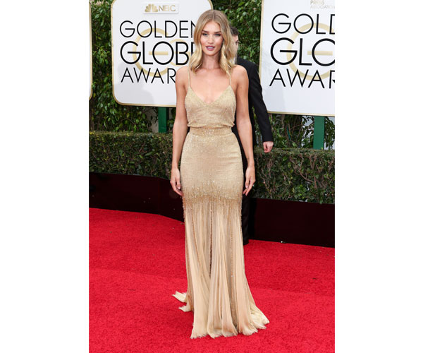 Rosie Huntington in this radiant Versace dress