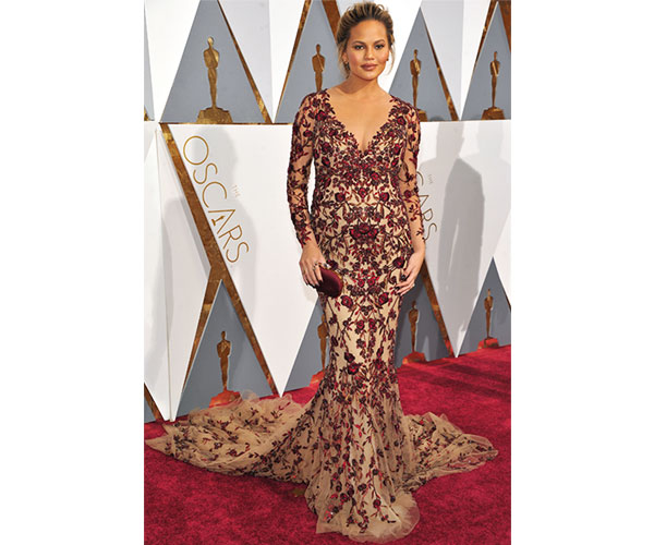 Chrissy Teigen in this beaded Marchesa gown.