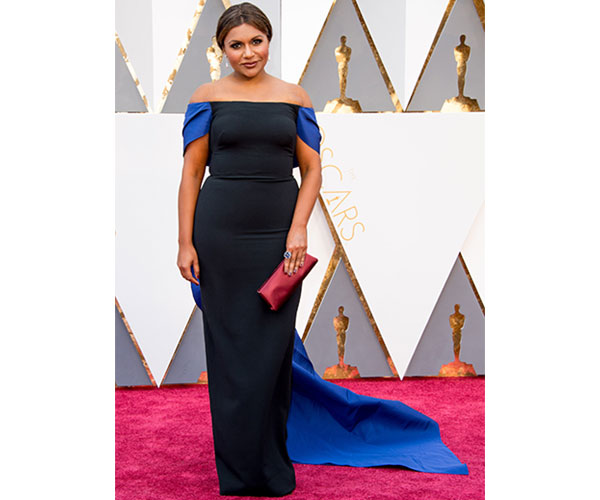 Mindy Kaling in black-and-blue Elizabeth Kennedy gown