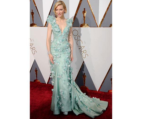 Cate Blanchett in seafoam green