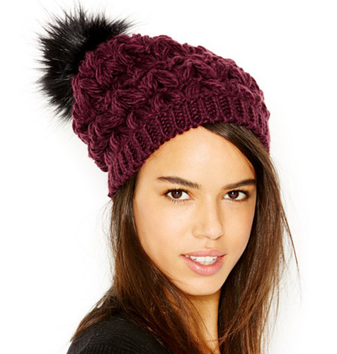 d303b83ac9759 Collection XIIX Homespun Solid Beanie With Faux Fur Pom Pom ( 28)