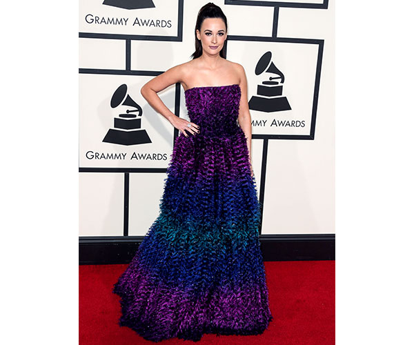 Kacey Musgraves in this peacock Armani Prive
