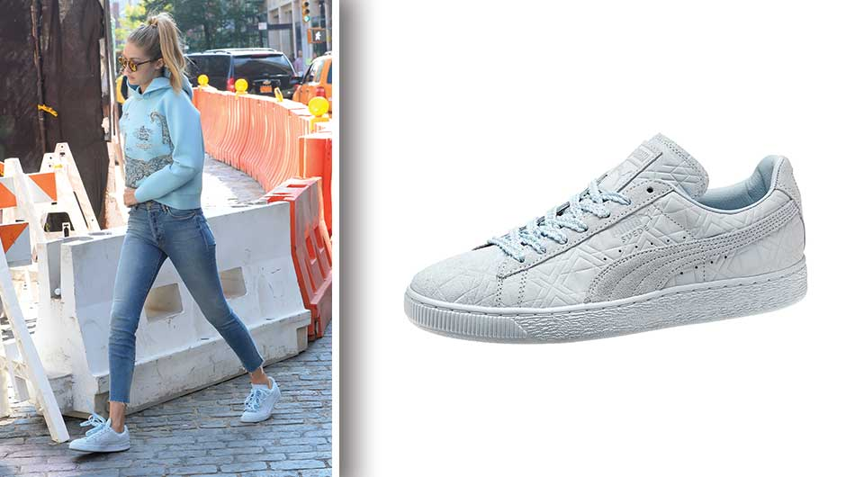 Gigi Hadid. Steal Gigi's street style in these Solange Suede Classic  Triangle Women Sneakers ...