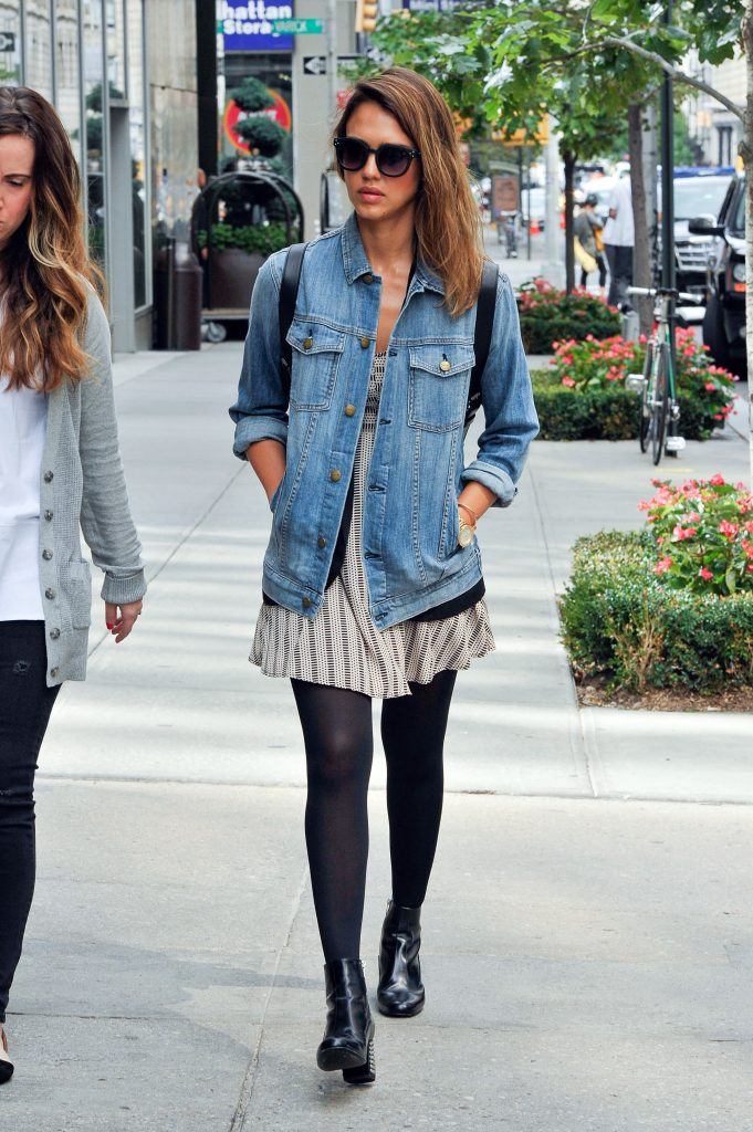 ***MANDATORY BYLINE TO READ INFphoto.com ONLY*** Jessica Alba is seen wearing a perfect fall outfit with tights and a denim jacket today in New York City. Pictured: Jessica Alba Ref: SPL871263 110914 Picture by: ACE/INFphoto.com