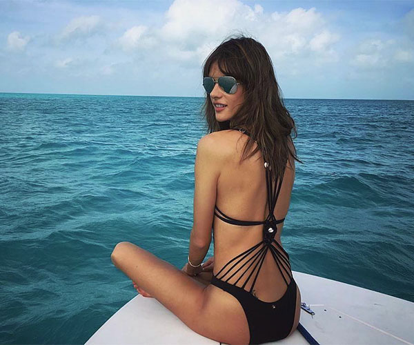 Alessandra Ambrosio Sizzles In Sexy Black Swim Suit While On A Boat In The Bahamas