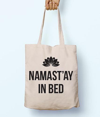 eeeb510140c6 Namast ay In Bed Yoga Peace Love Slogan Quote Cotton Shopper Tote Canvas Bag  ( 8.87)
