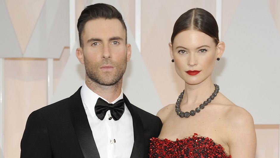 Adam Levine & Behati Prinsloo with Attractive Pose