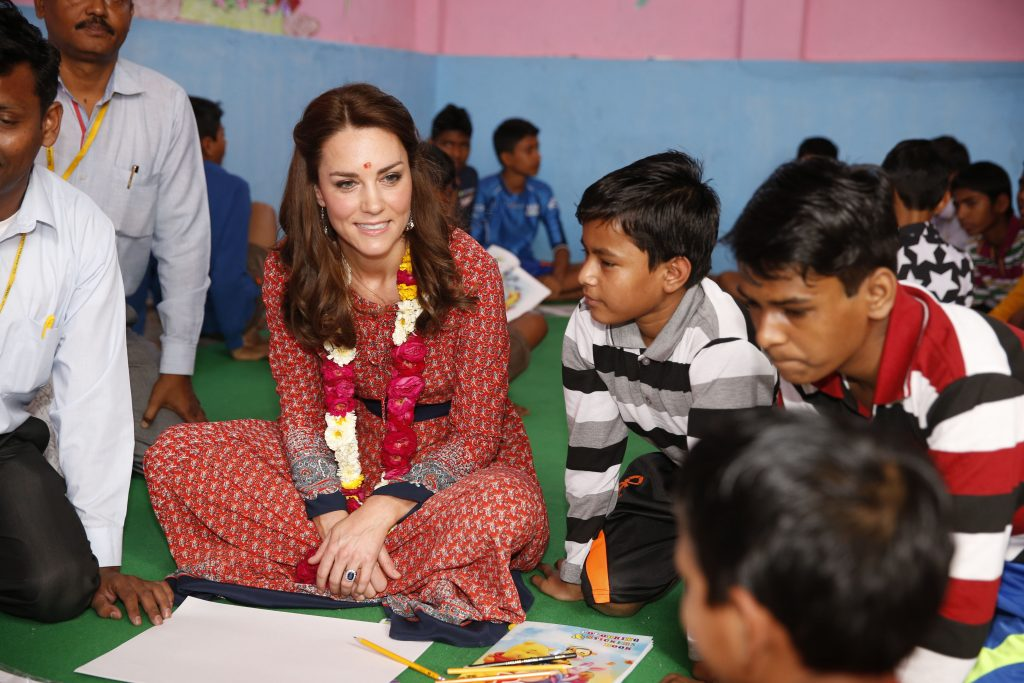 Kate Middleton and Prince William meet some of India's most impoverished street children in Delhi. The Duke and Duchess of Cambridge visited a drop-in centre for charity Salaam Baalak at a Delhi train station - where around 6,600 children travel to each year. Pictured: Duke and Duchess of Cambridge Ref: SPL1261042 120416 Picture by: Splash News Splash News and Pictures Los Angeles: 310-821-2666 New York: 212-619-2666 London: 870-934-2666 photodesk@splashnews.com