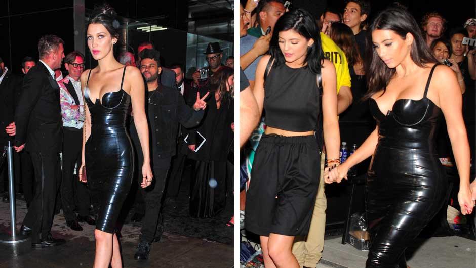 Bella Hadid vs. Kim Kardashian both with the exact same latex dress