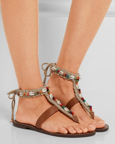 3a8029d34f2 SAM EDELMAN Gerome embellished macramé and leather sandals