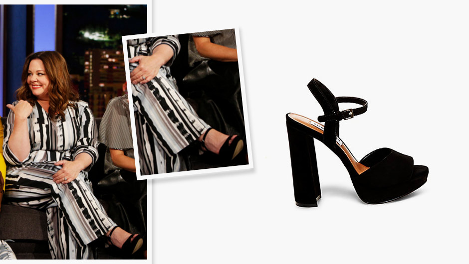 Our girl Melissa McCarthy wore Steve Madden's platform Kierra ($99.95)  sandals during an appearance on Jimmy Kimmel Live. The chunky heel and  platform make ...