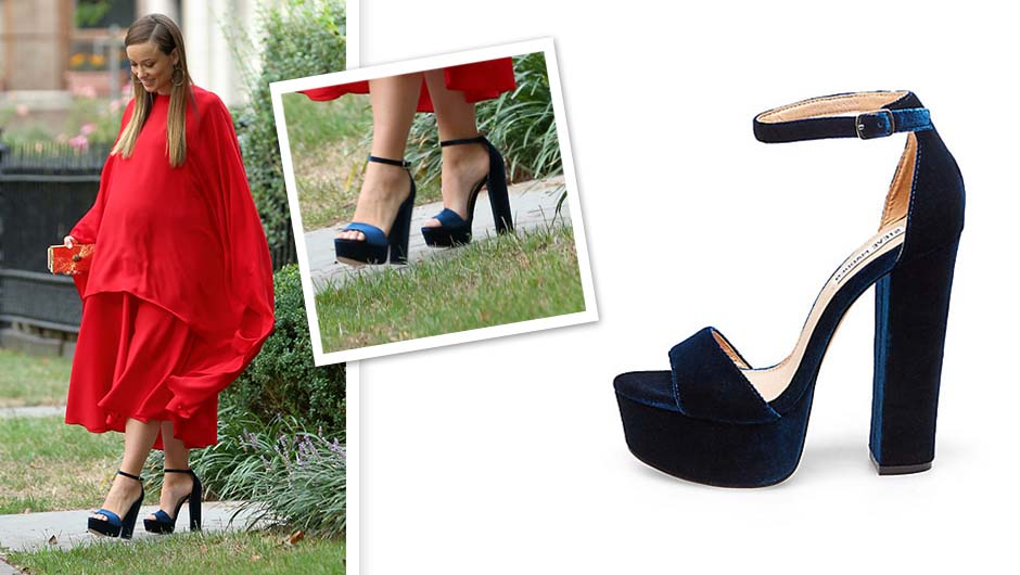 129bd7d8d50 Olivia Wilde stepped out at an event in New York wearing your new favorite  shoes  Steve Madden s Gonzo platform sandals ( 89.95). The velvet heels are  super ...