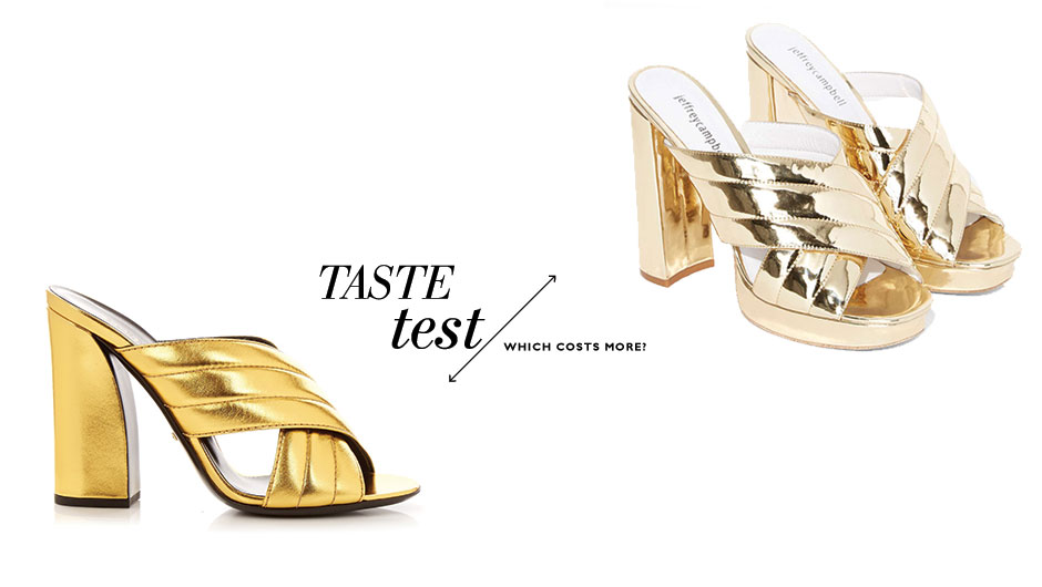Can You Tell Which Gold Mules Cost $460 More Than The Other?