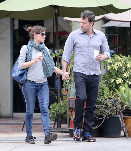 They were seen going to what it seems to be a flower shop together, but arrived in different cars. They then crossed the street to go to a coffee shop, and then got in their cars and left after a big goodbye kiss. Pictured: Ben Affleck and Jennifer Garner Ref: SPL701893 180214 Picture by: Reefshots / Splash News Splash News and Pictures Los Angeles: 310-821-2666 New York: 212-619-2666 London: 870-934-2666 photodesk@splashnews.com