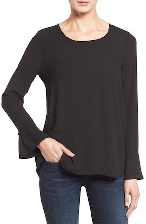 Pleione Bell Cuff High/Low Blouse