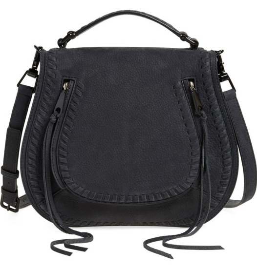black top handle saddle bag