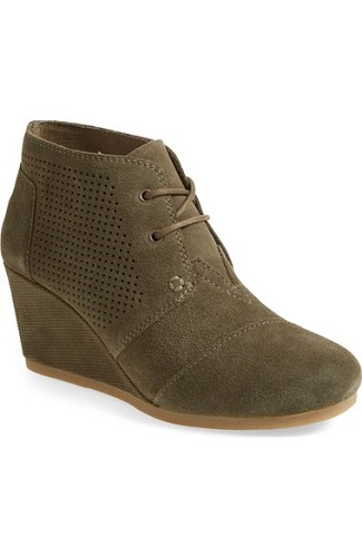 TOMS Perforated Desert Wedge Bootie