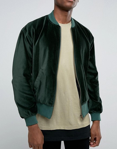 ASOS Velvet Bomber With Ruching Detail In Khaki