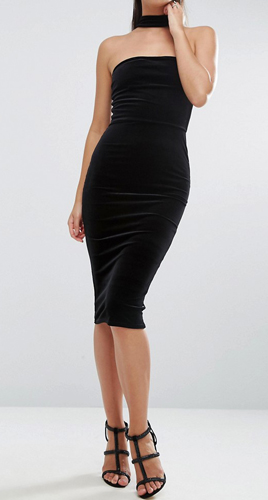 ASOS Velvet Choker Midi Pencil Dress