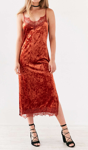 BOG Collective Crushed Velvet Lace Midi Slip Dress