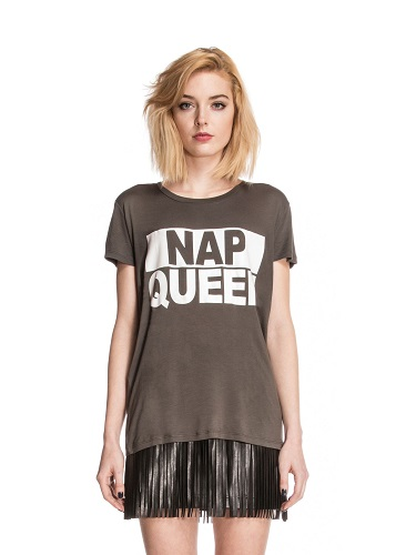 Jungle Nap Queen Print Crew Neck T-Shirt