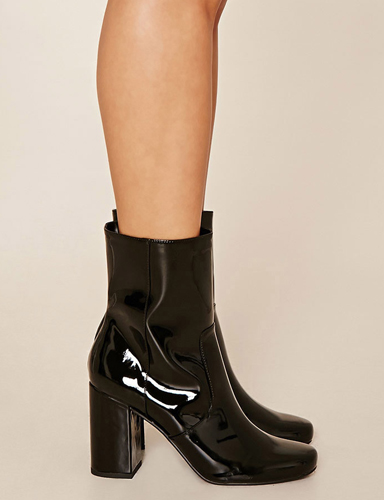 Faux Patent Leather Booties