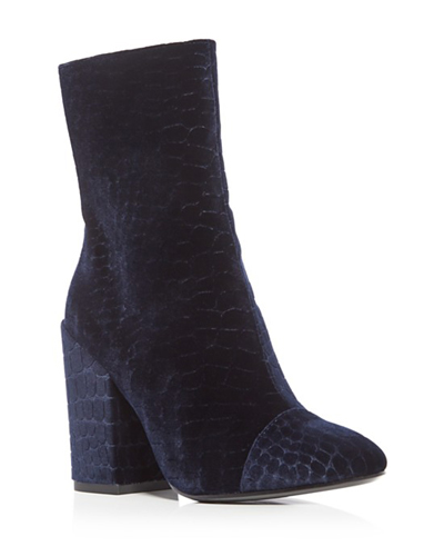 Ash Flora Croc-Embossed Velvet High Heel Booties