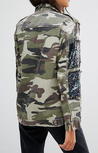 3386fdd4c0f10 Glamorous Camo Jacket With Sequin Patches