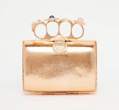 From St Xavier Exclusive Rose Gold Clutch Bag With Ring Detail
