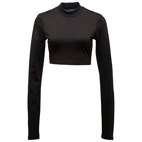 LONG SLEEVE CROPPED MOCK NECK TOP