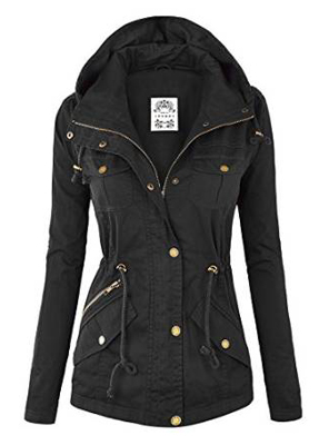 Womens Military Anorak Safari Hoodie Jacket