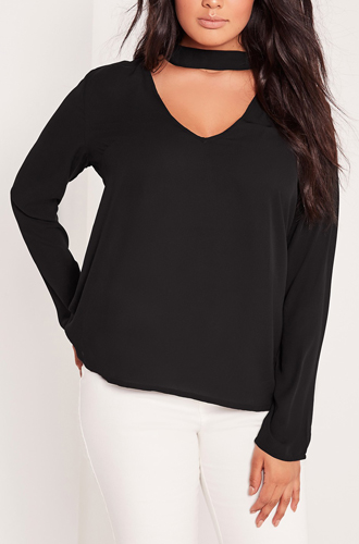 03f7720b70b Plus Size Choker Blouse Black