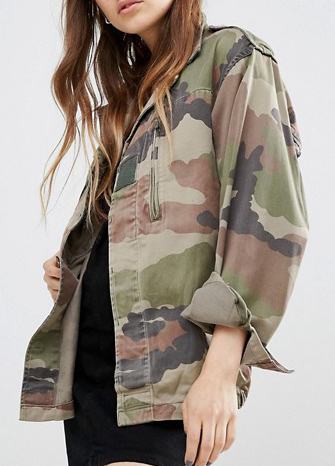 0ac9020039d56 Reclaimed Vintage Military Jacket In Camo Print
