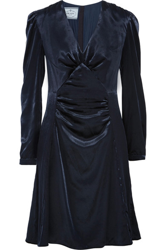 Prada Ruched velvet dress