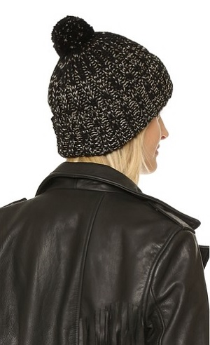 Olive Two Tone Cuffed Pom Beanie Hat