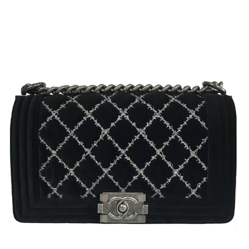 e9c2424a78ee CHANEL Boy velvet crossbody bag ($3,846.75)