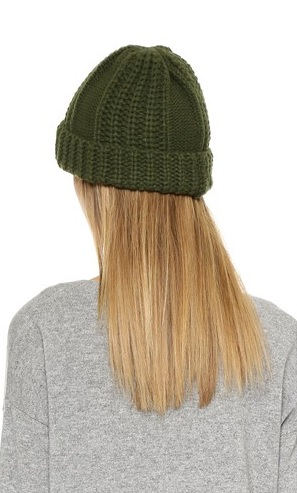 Olive Cable Knit Beanie