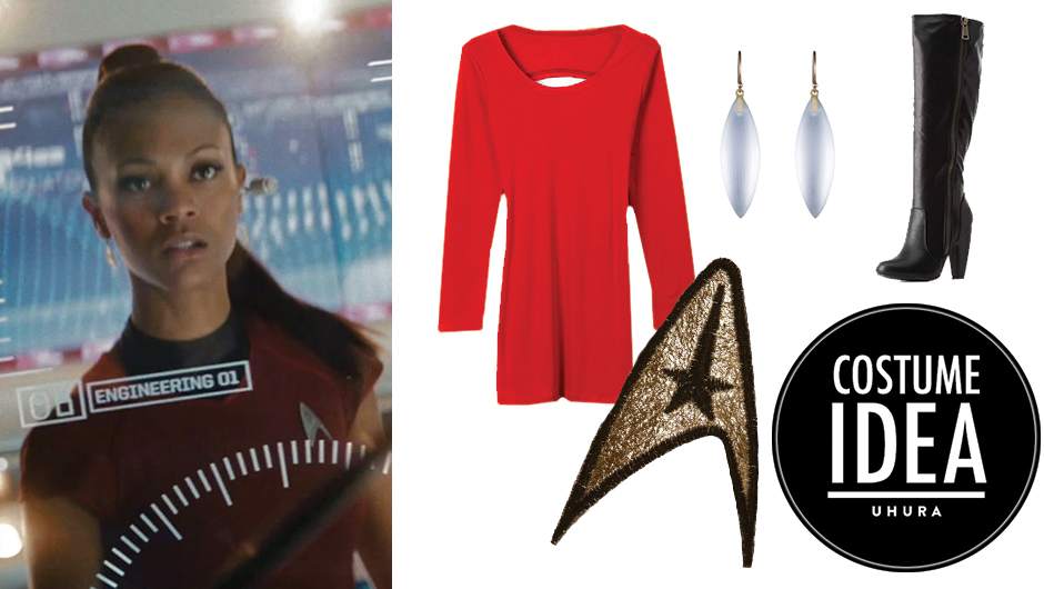 how to make a uhura from star trek halloween costume with just a red dress and boots - Uhura Halloween Costume