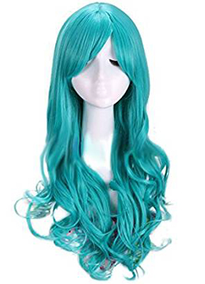 Nouqi® Anime Sailor Girls Turquoise Curly Wavy Hairs Cosplay Wigs