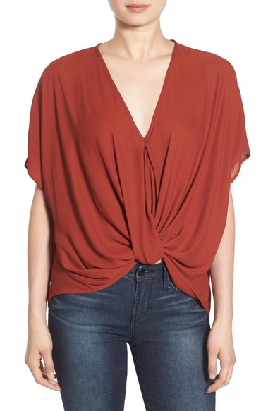 Lush Twist Front Woven Top