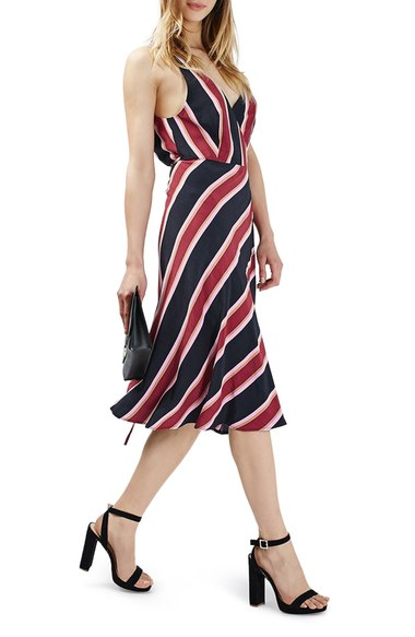Topshop Stripe Midi Wrap Slipdress