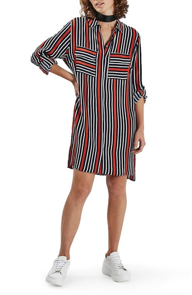 Topshop 'Sunrise' Oversize Stripe Shirtdress