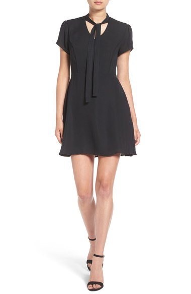 BP. Tie Neck Fit & Flare Dress