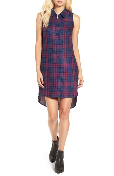 Love, Fire Sleeveless Plaid Shirtdress
