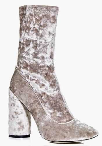 Felicity Cylinder Heel Velvet Sock Boot