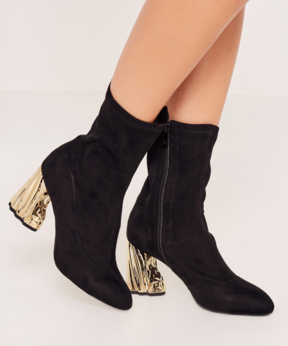 Gold Crushed Detail Heeled Sock Boots
