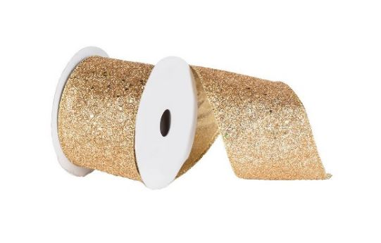 Sequin Wired Edged Ribbon Gold Velvet