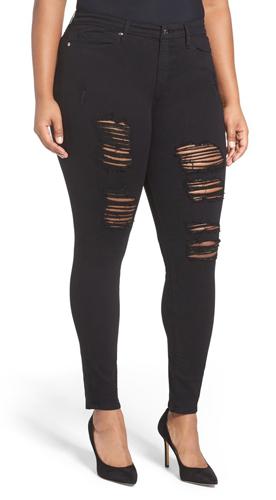 GOOD AMERICAN Good Legs Destroyed Skinny Jeans